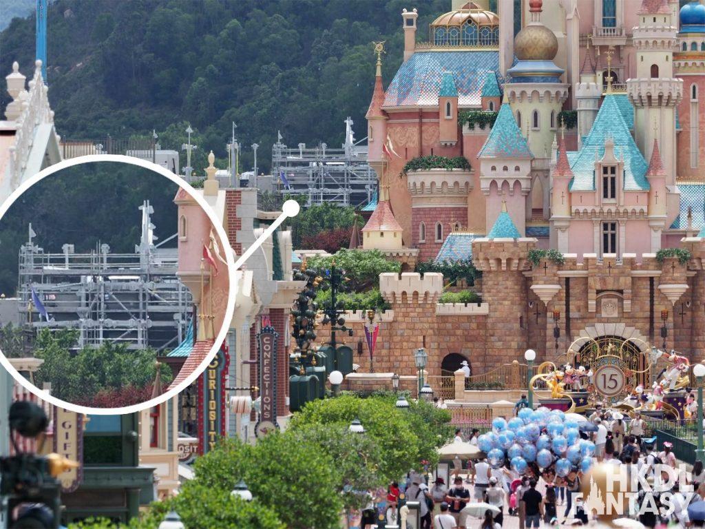 Hong Kong Disneyland Arendelle Frozen visible from Main Street