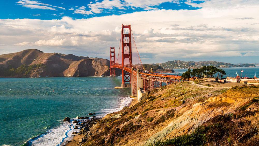 California Gold Gate Bridge