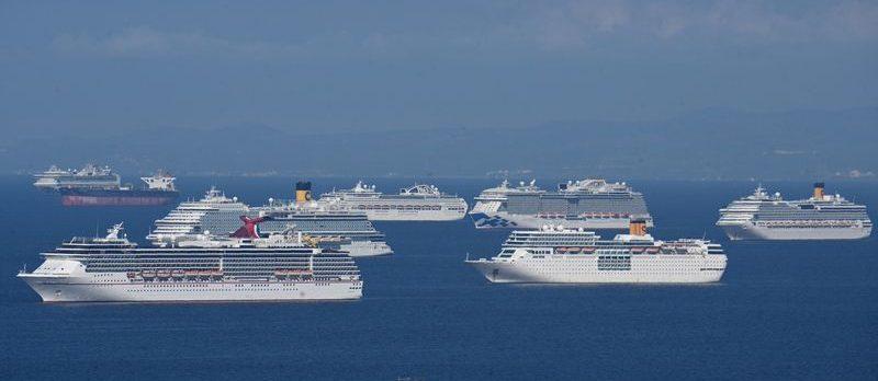 Empty cruise ships
